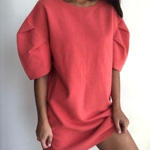 Zara Coral Puff Sleeve Oversize Sweater Dress  S